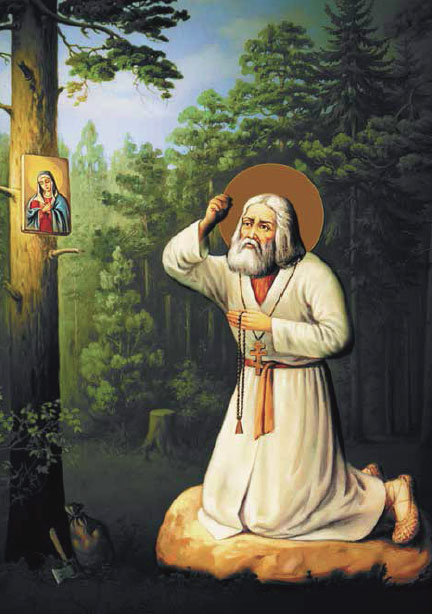 Saint Seraphim of Sarov prays to Mother of God