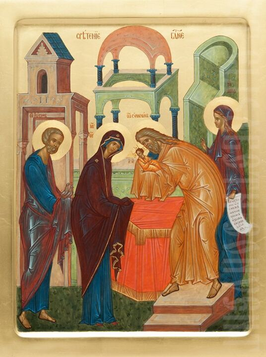meeting of the lord hand painted icon