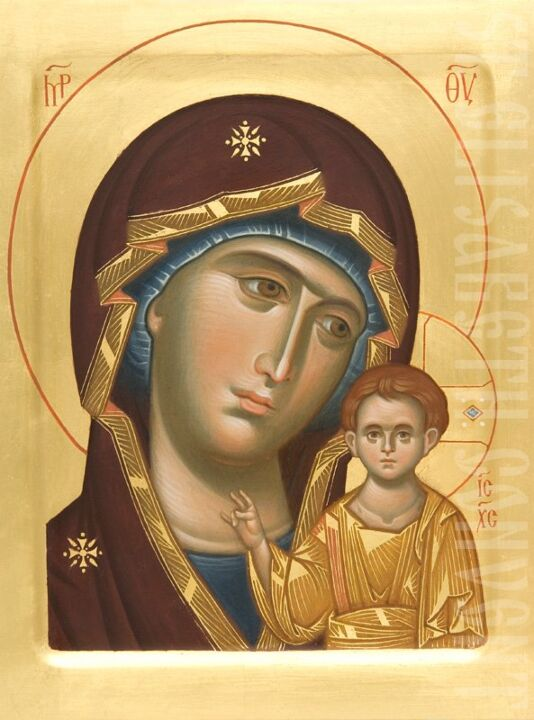painted icon mother of god of kazan